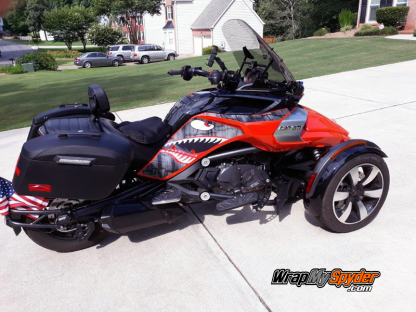 BRP Can-am Spyder F3 Flying Tigers P40 Shark Face decal set along with optional matching Intake Panel