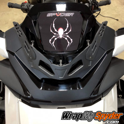 2020-Spyder-RT-Windshield-Plate-logo-White-Red-Bellerdine-Spider