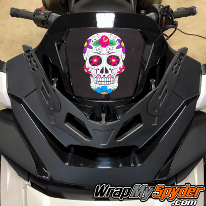 2020-Spyder-RT-Windshield-Plate-logo-Sugar-Skull