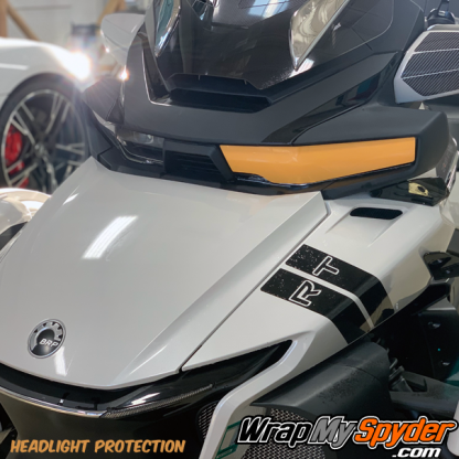 2020+-BRP-Can-am-Spyder-RT---RT-Limited-headllight protection kit in Xpel Paint protection film.
