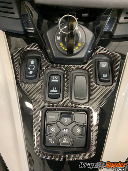 2020+-Can-am-Spyder-RT--RT-Limited-3D Domed Control-panel-Real-Carbon-Fiber. Dash accent kit.