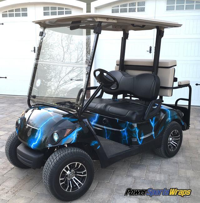 Lightning Blue golf car wrap