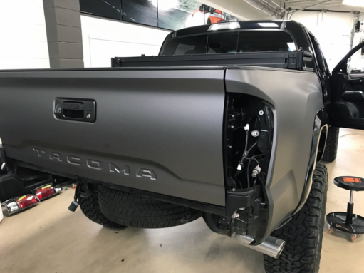 Matte Gray metallic wrapping film on this Toyota Tacoma