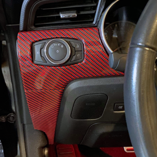 Deep Red-Black Digital-Carbon-Fiber Dash wrap on Mustang