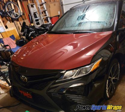 Deep-Red-Black-Carbon-fiber-hood-wrap
