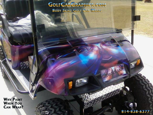 Who needs custom paint when you can wrap your golf car?