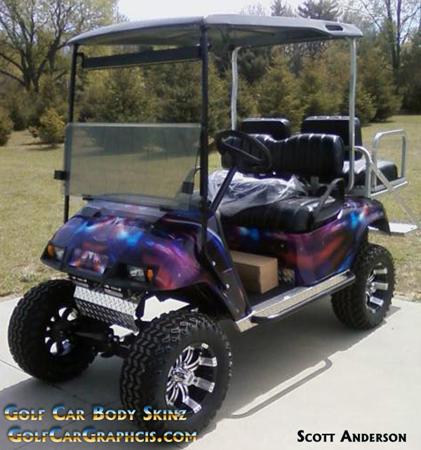 Do it yourself golfcar-wrap kit in Hymanaius pattern