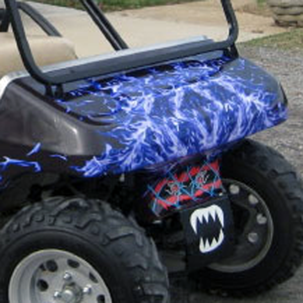 New Blue Flame golf car wrap