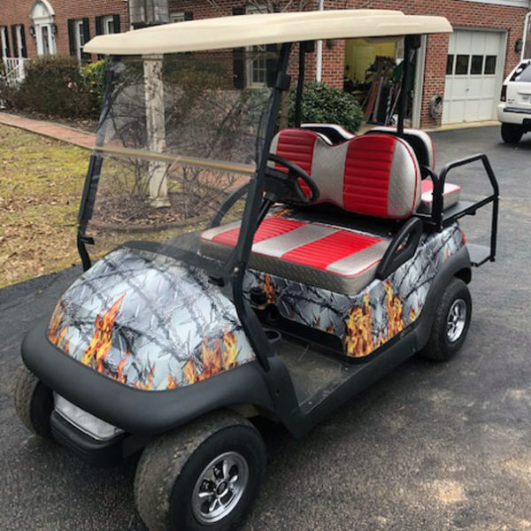 flaming barbwire golf car wrap