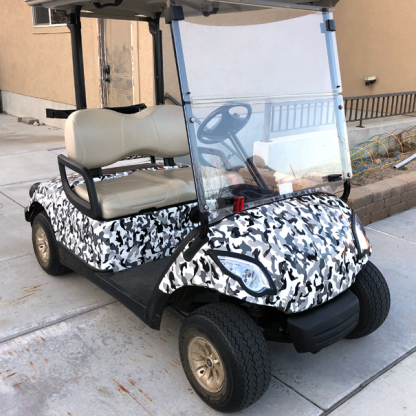 DIY Black, gray, white Urban-Avalanch-camouflage-wrap for all standard size golf cart models.