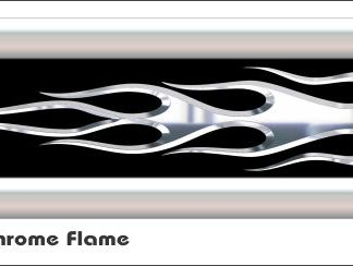 G9 3D Chrome Flame Golf Car Grill Decal