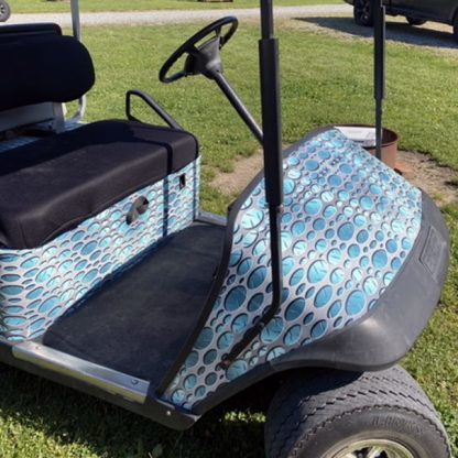 DIY golf cart wrap kit Punch Metal Aqua installed by first time users