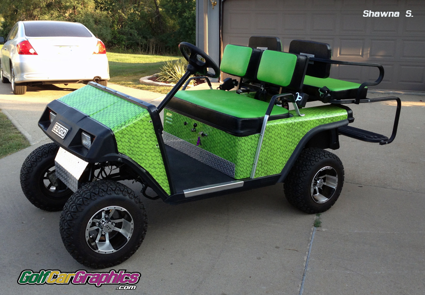 Monster Scales Green golf car wrap