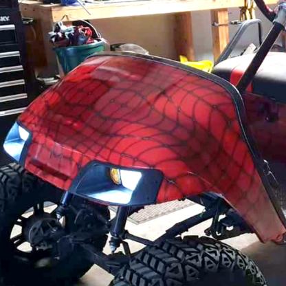 Red Web full body golf car wrap