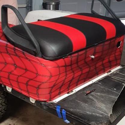 Red Web full body golf cart wrap kit. Sold as a DIY kit.