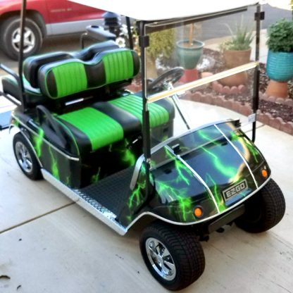 Lightning Green full body golf cart wrap covers the complete surface of your golf car not allowing any of the factory color to show.