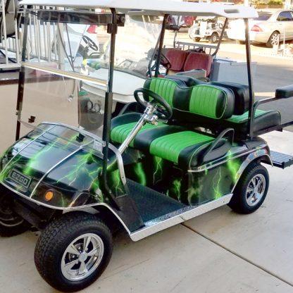 Lightning Green full body golf cart wrap