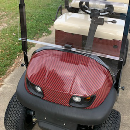 Wrap your buggy in our Deep-Red-Black-carbon-fiber-golf cart wrap kit