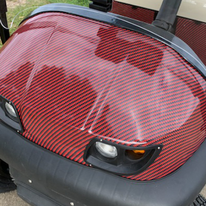Deep-Red-Black-carbon-fiber golf car wrap