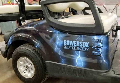 Lightning Blue full body golf car wrap