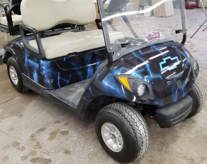 full body golf cart wrap in Lightning Blue. Golf car color change wrap