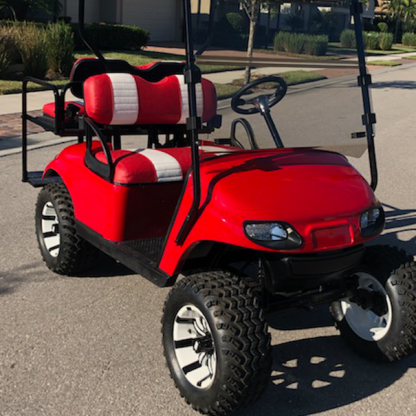 Solid Red Gloss golf cart wrap kit for all standard size golf cars.