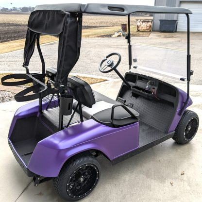 Matte Purple Metallic golf cart wrap installed by first time user