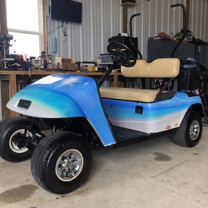 tropical theme golf car wrap kit