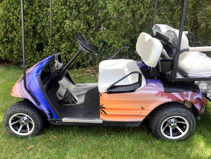 Hawaii-Sunset golf cart wrap theme. This kit is sold as a DIY kit anyone can apply.