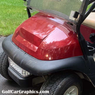 Spark-Red metallic-full-body-golf-cart-wrap-installed by first time user